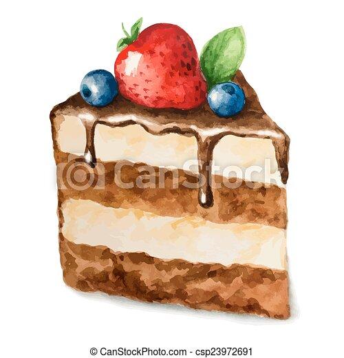 Watercolor Cake Clip Art : EPS Vectors of Vector watercolor pie, piece of cake. It ...