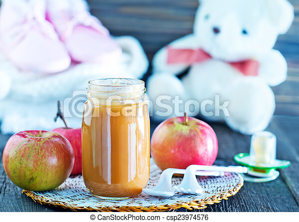baby food in bank and on a table