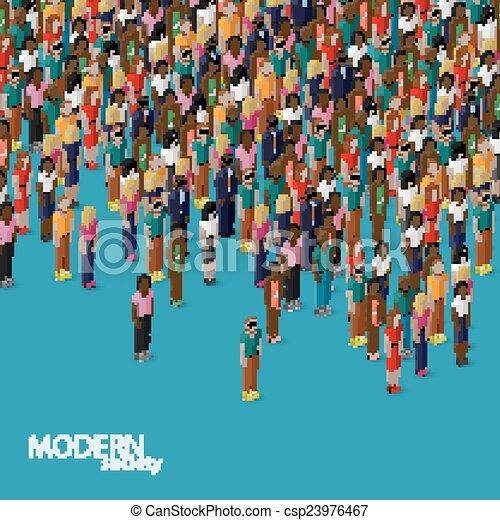 Vector Clip Art of vector flat illustration of society members ...