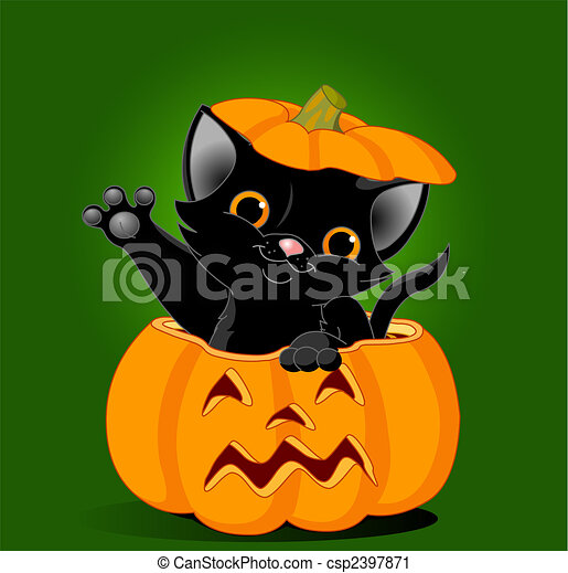 Clip art vecteur de chat citrouille noir chaton sauter dehors depuis a csp2397871 - Prix d une citrouille ...