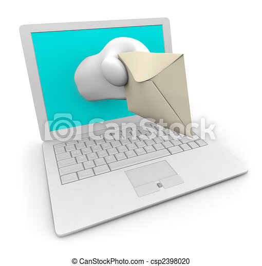 White Laptop Delivering Your e-Mail - csp2398020