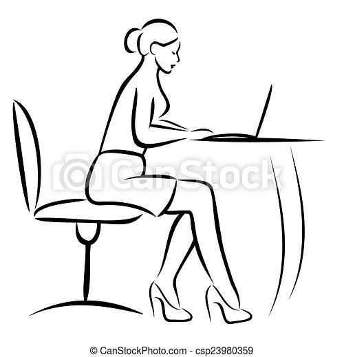 Clipart vector van secretaresse kantoor vector illustratie csp23980359 zoek naar - Secretaresse witte ...