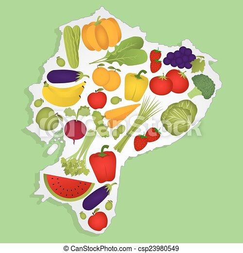 Ecuador Vector Vector Mapa Ecuador Frutas
