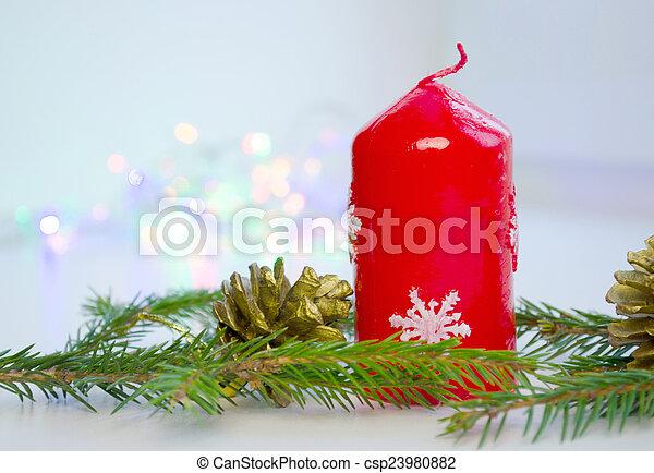 Películas de presentes, guirnalda, velas, árbol, regalos, luces ...