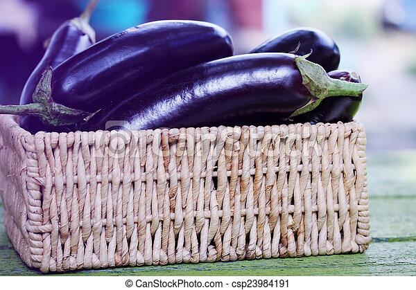 eggplant in a wicker basket