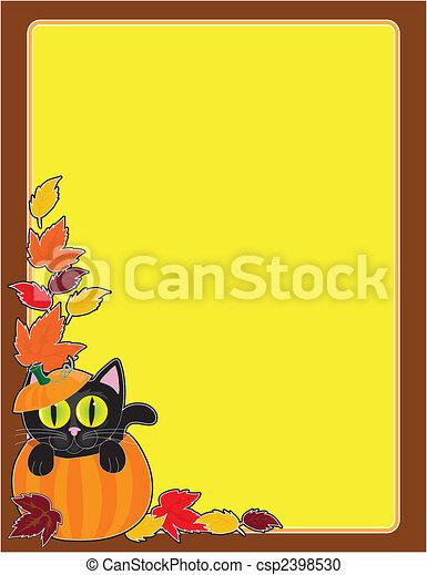 Black Cat Pumpkin Border - csp2398530