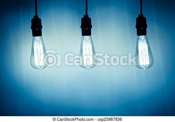 three vintage bulb lamps with cold light