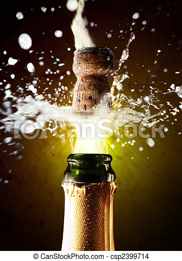 Close up of champagne cork popping - csp2399714