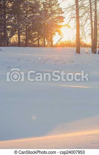 landscape. weather, snowdrifts in the foreground