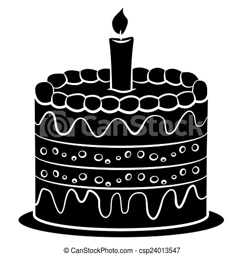 EPS Vector Of Black Silhoutte Of Birthday Cake Csp - Graphic birthday cake