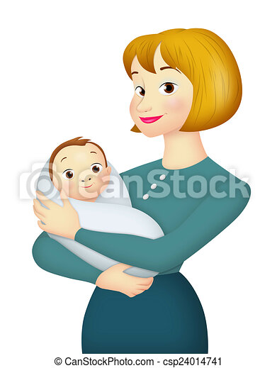 Drawing of Mother With Baby - Mother carrying baby in her ...