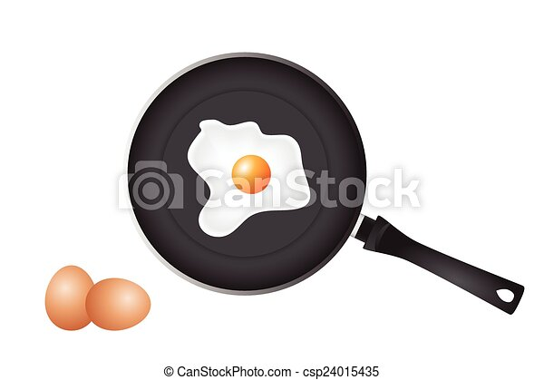 Frying pan and eggs - csp24015435