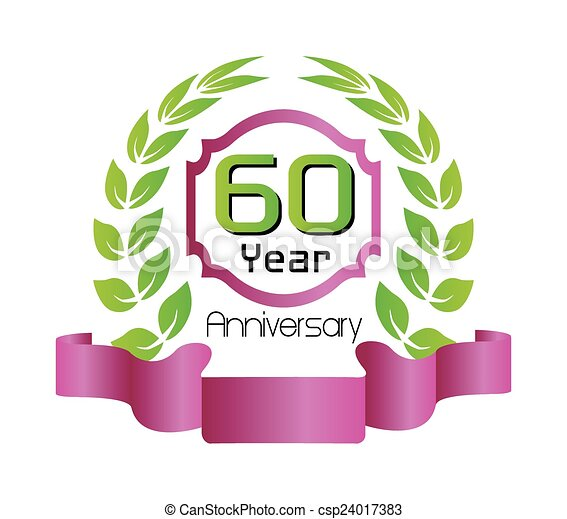 Vector of 60 year birthday celebration, 60th anniversary ...