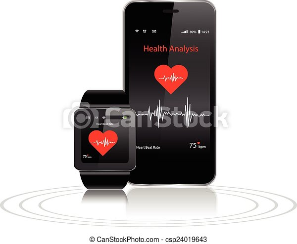 EPS Vector of Smartwatch and Smartphone with health apps ...