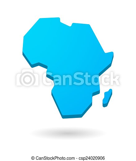 Vector Clipart of blue Africa continent map icon - blue isolated ...