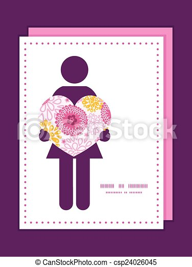 Vector pink field flowers woman in love silhouette frame pattern invitation greeting card template - csp24026045