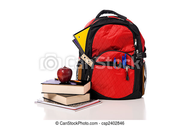 School Backpack Overflowing with supplies - csp2402846