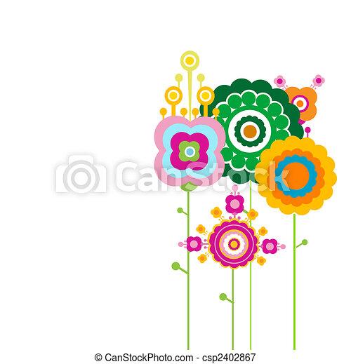 retro flowers - csp2402867