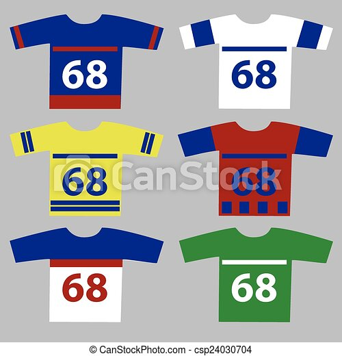 Vector Clipart of ice hockey jersey set with player numbers eps10 ...