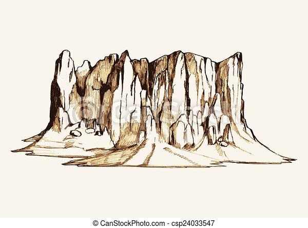 Vecteur eps de montagne croquis rocher croquis illustration de a csp24033547 - Rocher dessin ...