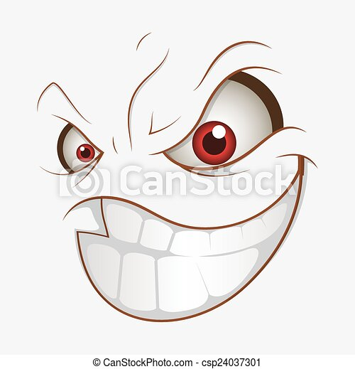 Vector Clipart of Bad Cartoon Evil Smile Expression ...