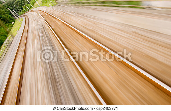 railway track with high speed motion blur  - csp2403771
