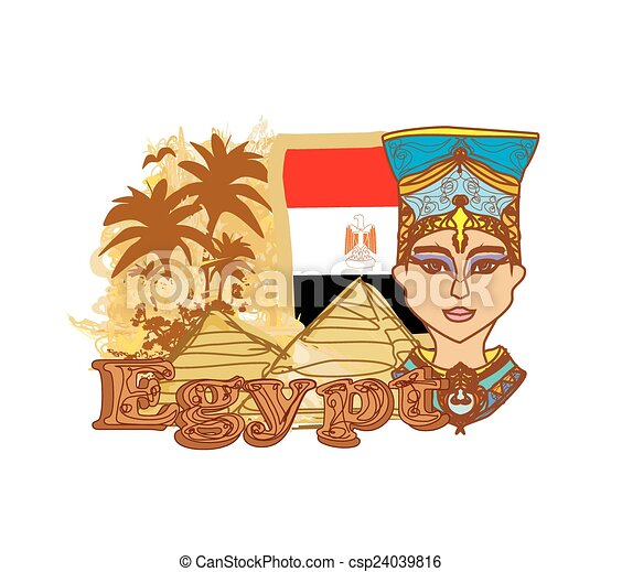 Vector Clip Art of Egyptian queen cleopatra on the background of ...