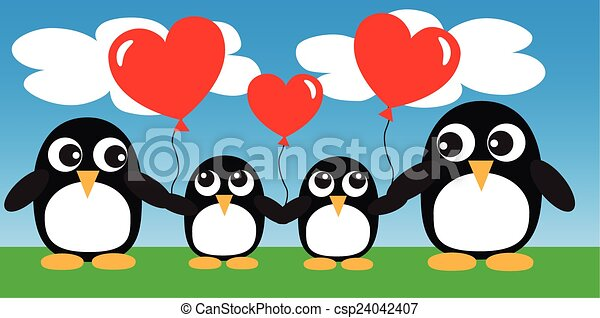 Penguin Family Drawing a Penguin Family With Balloons