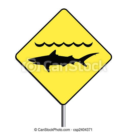 'Warning, sharks' sign. - csp2404371