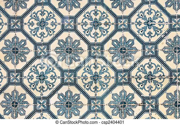 Traditional ancient ceramics. Lisbon, Portugal - csp2404401