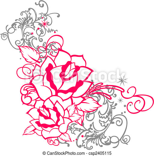 rose portrait with scroll ornament - csp2405115