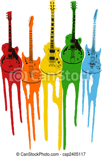 colourful music guitar illustration - csp2405117
