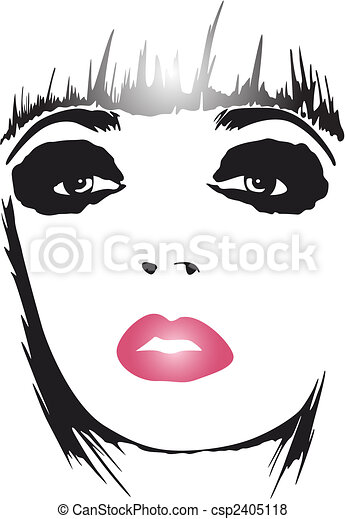 fashion woman pop art poster - csp2405118