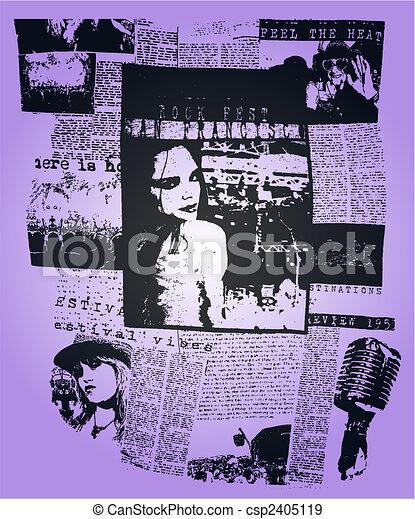 woman newspaper poster pop art design - csp2405119