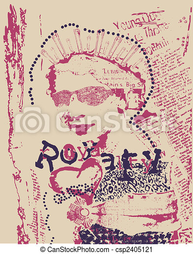 vintage rust woman newspaper style poster - csp2405121