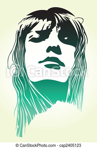 woman pop art portrait - csp2405123