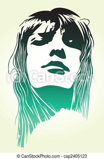 woman pop art portrait - csp2405123