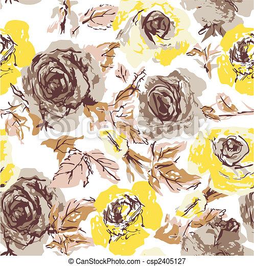 seamless flower rose wallpaper - csp2405127