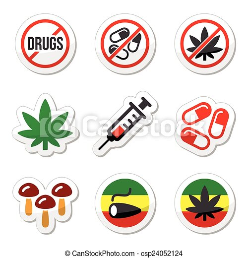 Ilustraciones de Vectores de drogas, adicción, marijuana, syring ...