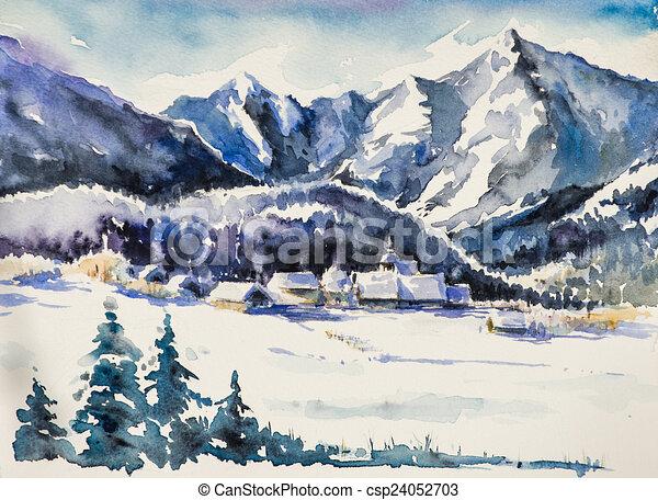 Illustration de montagnes hiver paysage montagne village couvert csp24052703 - Paysage enneige dessin ...