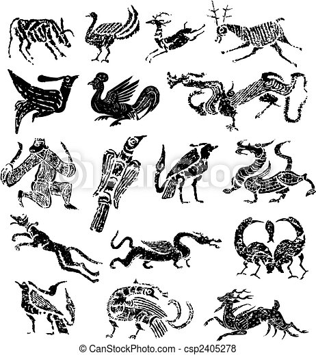 Ancient Arts Drawing Ancient Stamp Animal