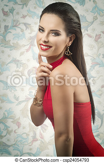 happy lady with red dress