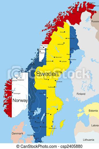 Stock de Ilustration de suecia noruega  Abstract mapa de color