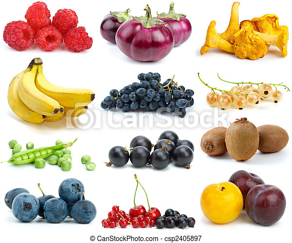 Set of fruits, berries, vegetables and mushrooms of different colours - csp2405897