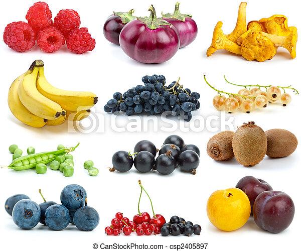 färger, olik, sätta, grönsaken, svampen, frukter, Bär - csp2405897