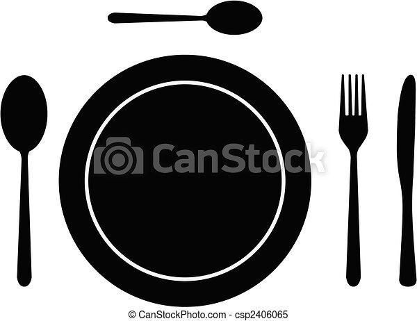 Clipart vectorial de plato cubiertos lleno cubiertos for Plato tenedor y cuchillo