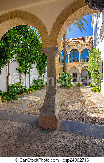 typical Andalusian courtyard decorated with flowers arches and c