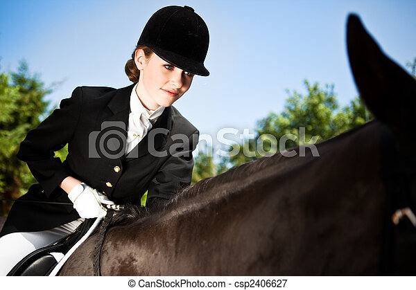 Horseback riding girl - csp2406627