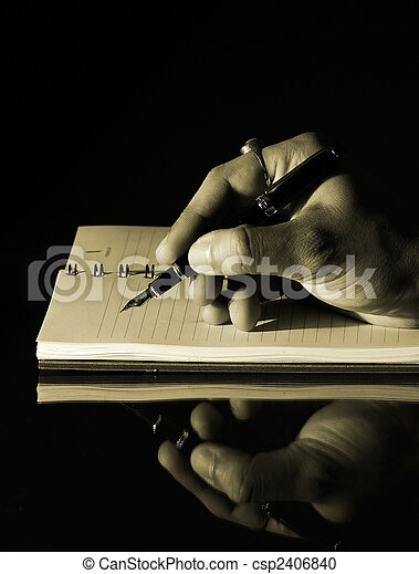 Writing in a notebook - csp2406840
