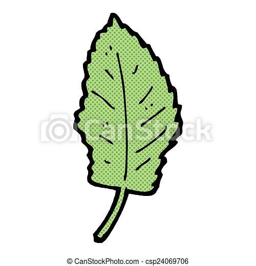 Vektor komikus karikatúra levél növényen jelkép stock